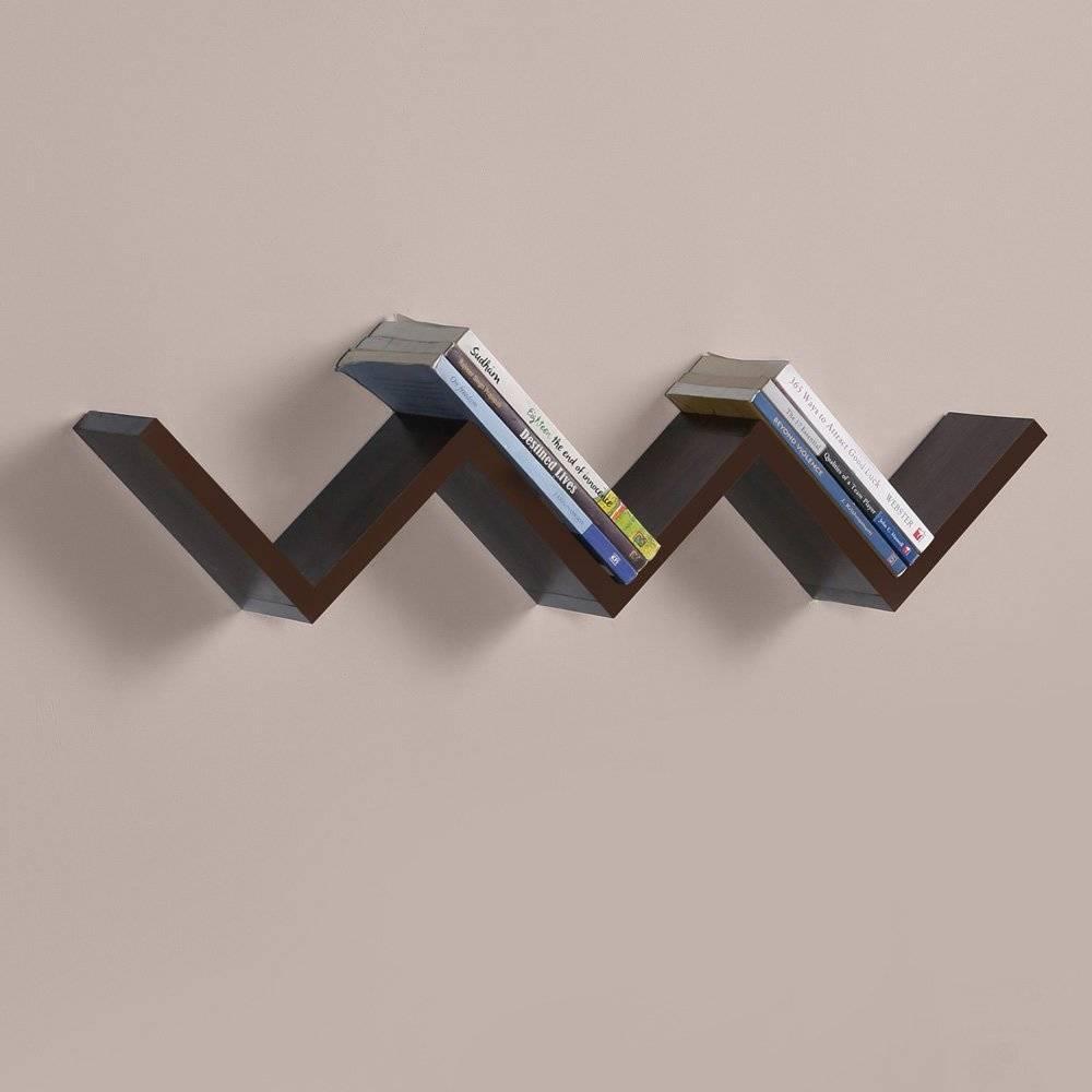 wall-mount-book-shelf-furniture-decorating-shape-zigzag-rich-walnut-finish-exciting-bookshelf-plans-best-speakers-white-mounted
